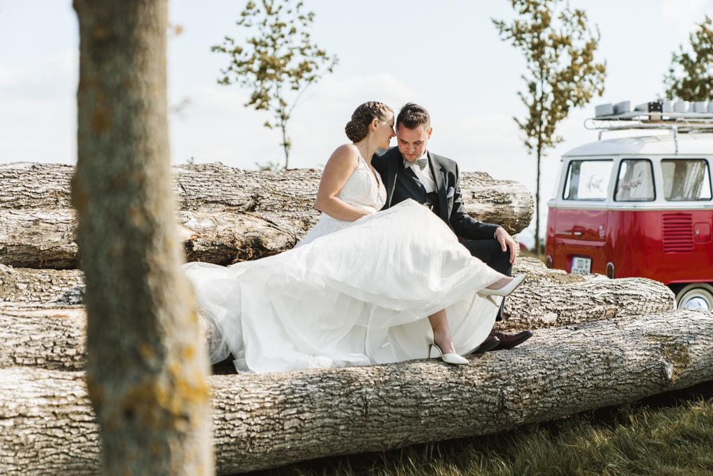 Brautpaar sitzt auf Holzstämmen und tuschelt.